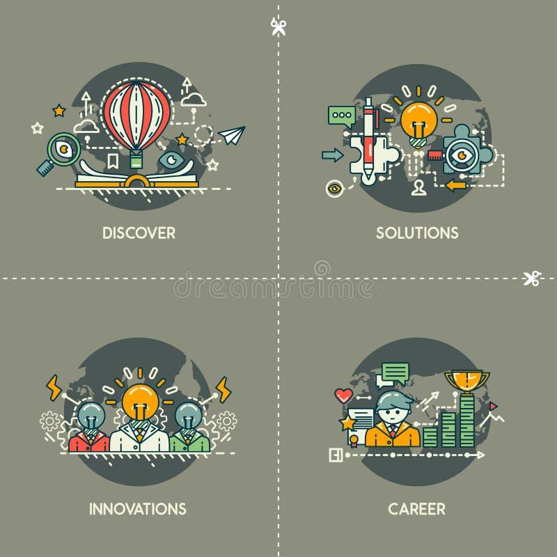 Descubra, soluções, inovações, carreira ilustração do vetor