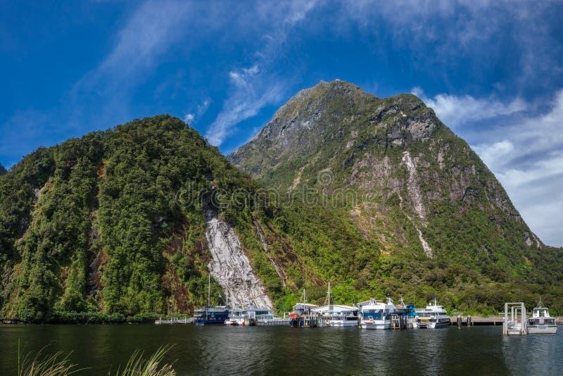 Descubrimientos meridionales en Milford Sound fotos de archivo libres de regalías