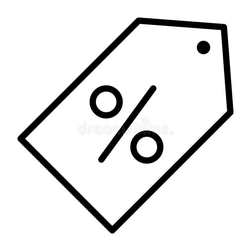 Descuente la línea fina icono 48x48 del vector perfecto del pixel del precio Pictograma mínimo simple stock de ilustración