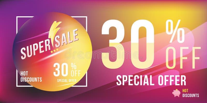 Descuento de la oferta especial 30 en formato rectangular brillante y aviador del cartel Plantilla estupenda de la venta para la  libre illustration