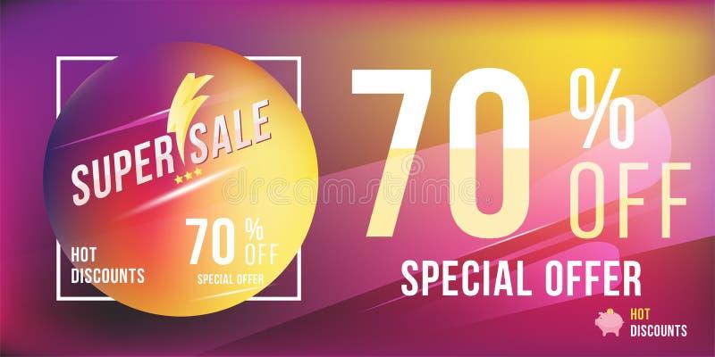 Descuento de la oferta especial 70 en formato rectangular brillante y aviador del cartel Plantilla estupenda de la venta para la  stock de ilustración