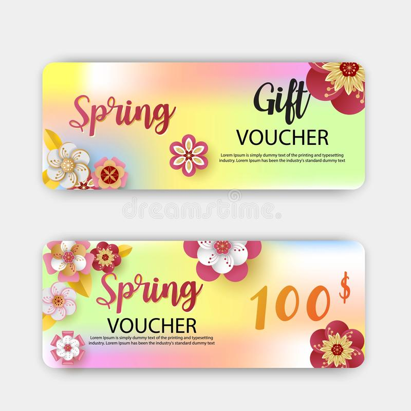 Descuento de los vales de regalo de la venta de la primavera Con la hoja y las flores coloridas diseñe Estilo cortado de papel de libre illustration