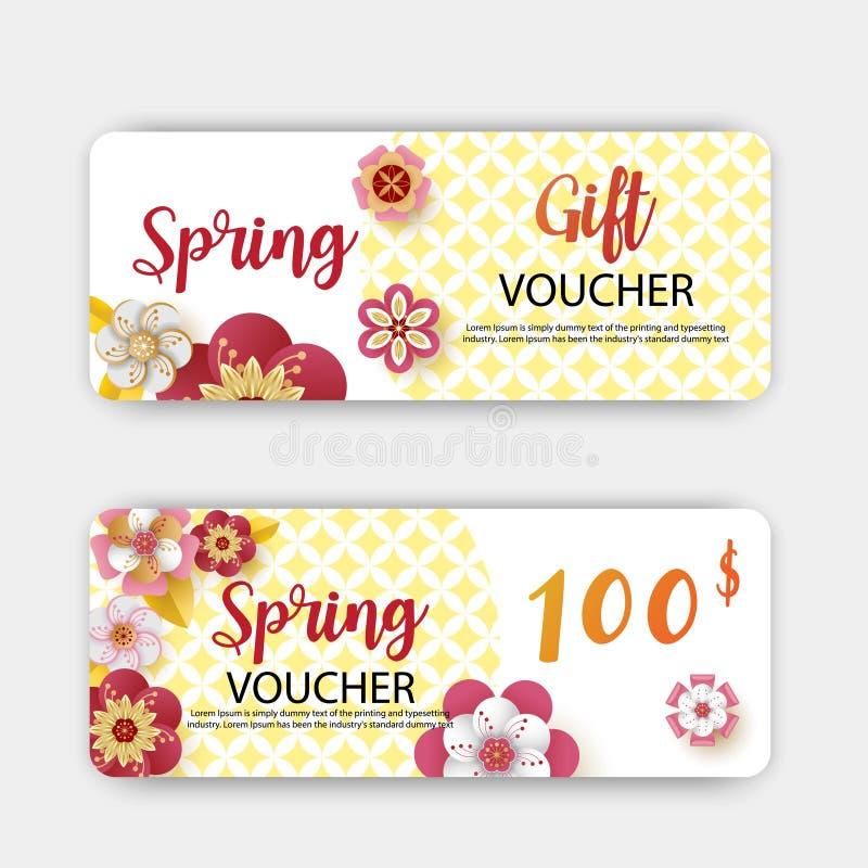 Descuento de los vales de regalo de la venta de la primavera Con la hoja y las flores coloridas diseñe Estilo cortado de papel de ilustración del vector