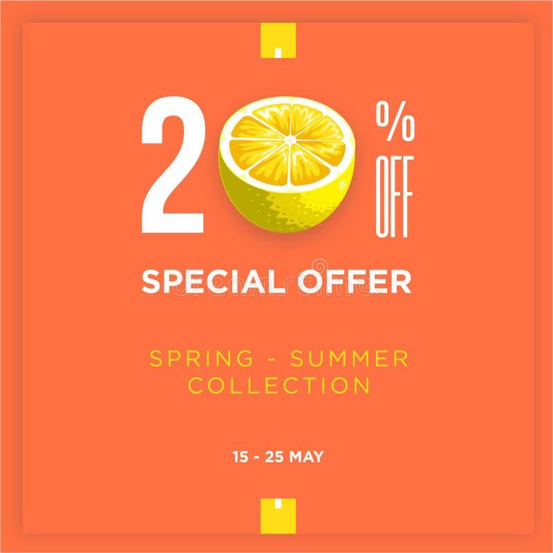 descuento del 20% con verano de la primavera de la rebanada del limón Dise?o de la plantilla de la bandera de la venta Oferta esp stock de ilustración