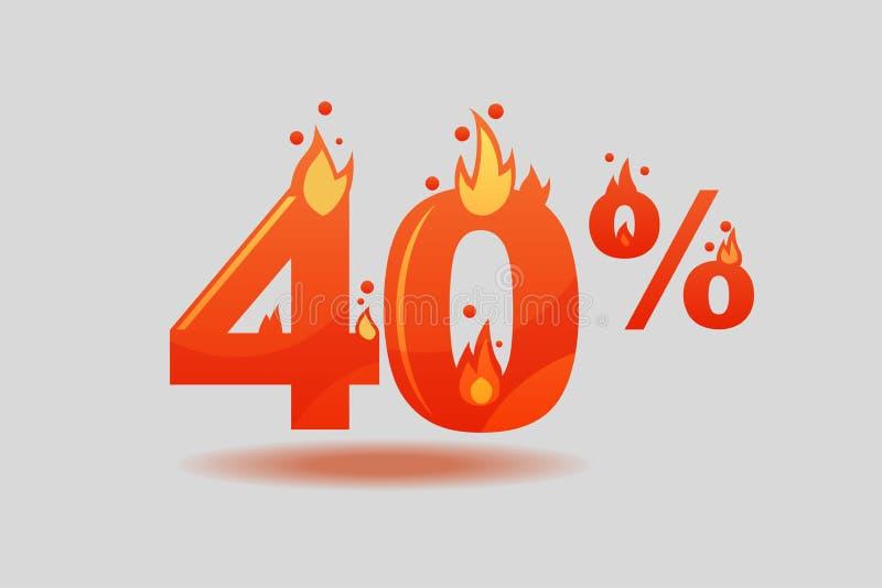 Descuento del cuarenta por ciento, números en el fuego libre illustration