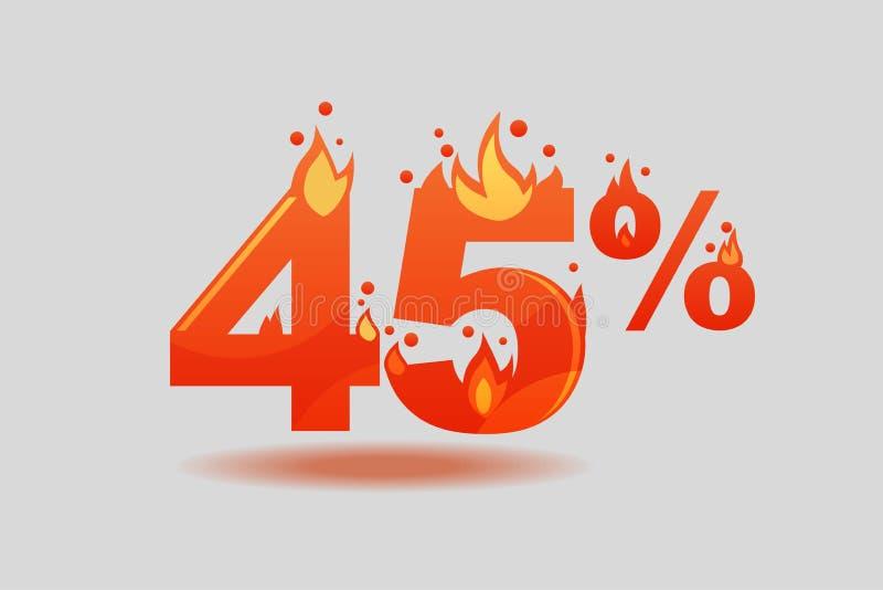 Descuento del cuarenta y cinco por ciento, números en el fuego ilustración del vector