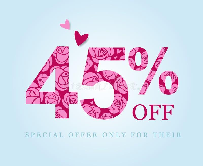 Descuento del cuarenta y cinco por ciento Venta Rosas rosadas libre illustration