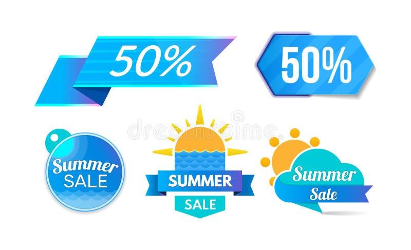 Descuento del verano, venta 50, promociones, programa del descuento, ofertas especiales ilustración del vector
