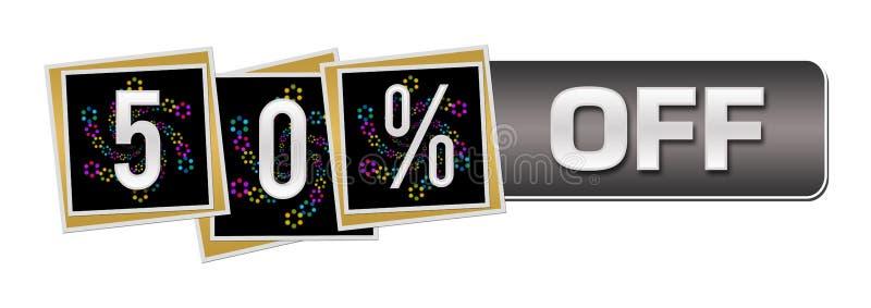 Descuento el cincuenta por ciento de la barra de cuadrados de ne?n colorida oscura ilustración del vector