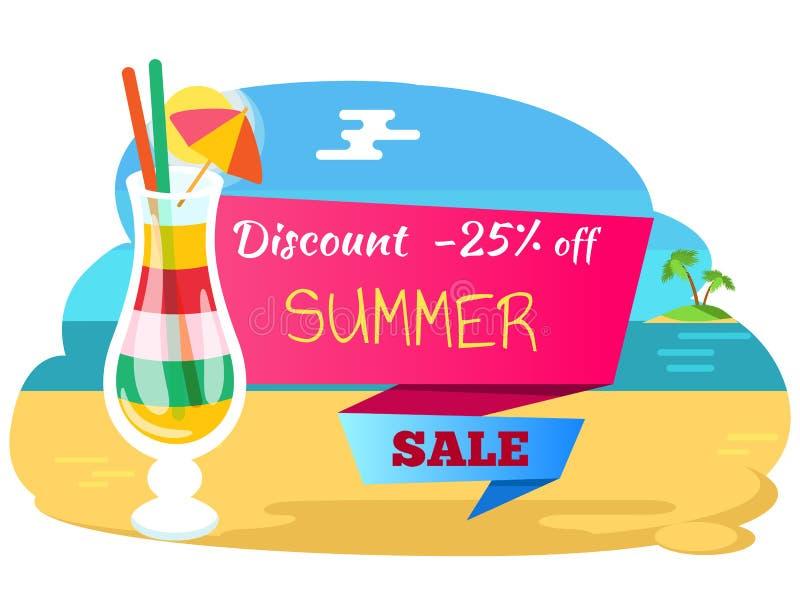 Descuento el 25 por ciento, cóctel de la etiqueta de la venta del verano libre illustration
