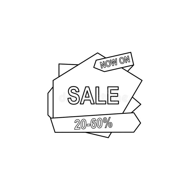 20-50 descuento en el icono de la cinta El elemento de la venta firma para los apps móviles del concepto y del web Línea fina ico libre illustration