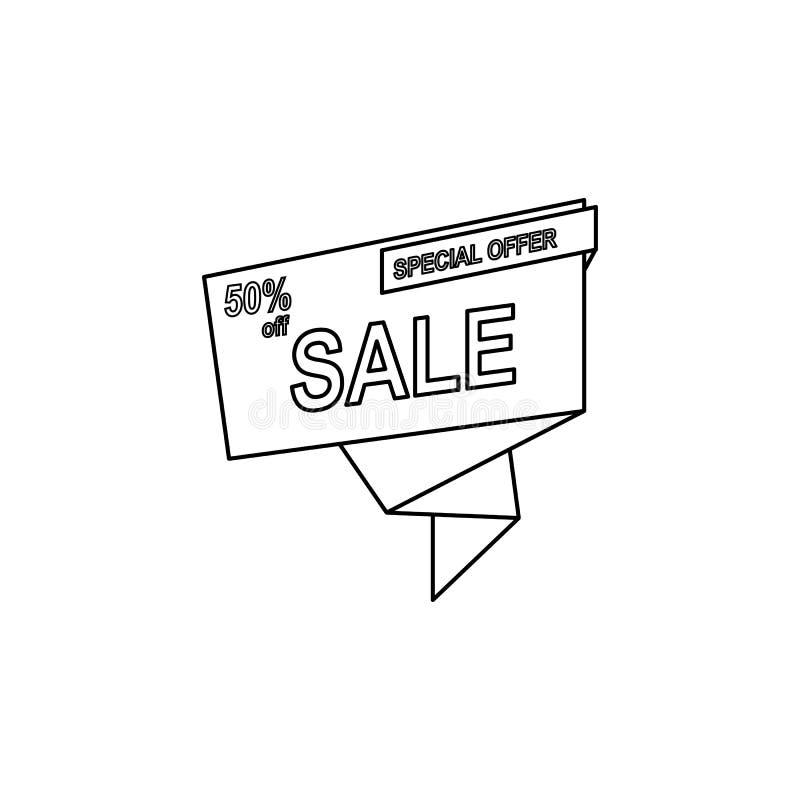 descuento 50 en icono de la cinta El elemento de la venta firma para los apps móviles del concepto y del web Línea fina icono par stock de ilustración