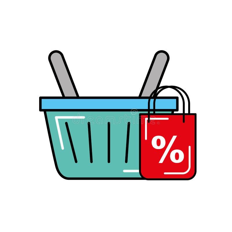 Descuento en línea del comercio del mercado de la cesta que hace compras libre illustration