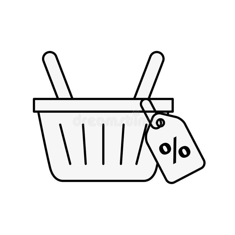 Descuento en línea del comercio del mercado de la cesta que hace compras ilustración del vector