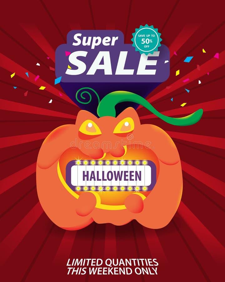 Descuento especial de la venta de Halloween de la bandera estupenda de la plantilla hasta el 50% apagado stock de ilustración