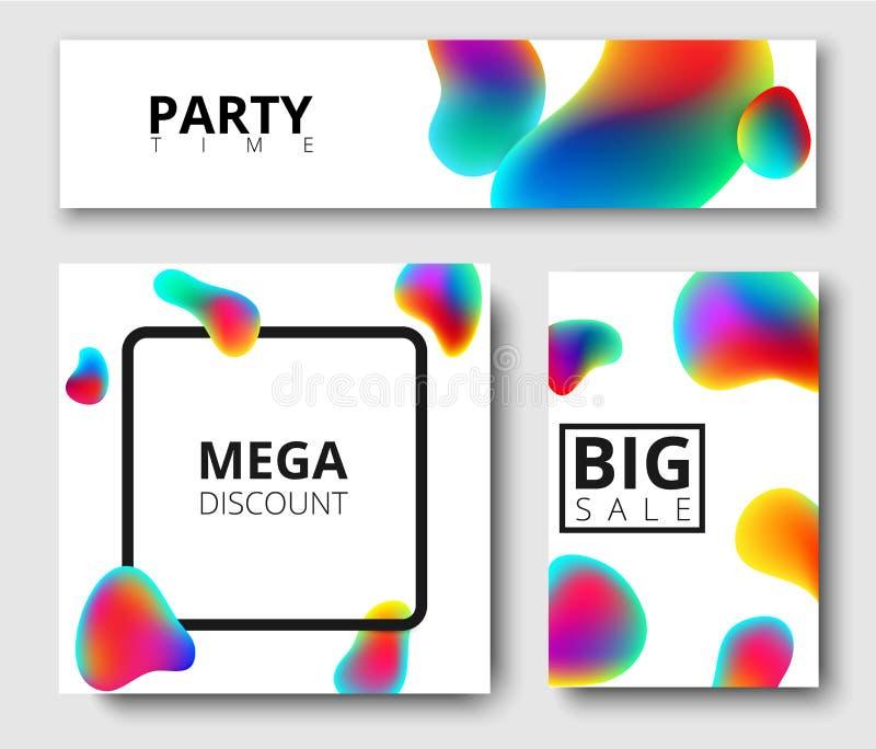 Descuento, tiempo del partido, tarjetas del blanco de la venta ilustración del vector
