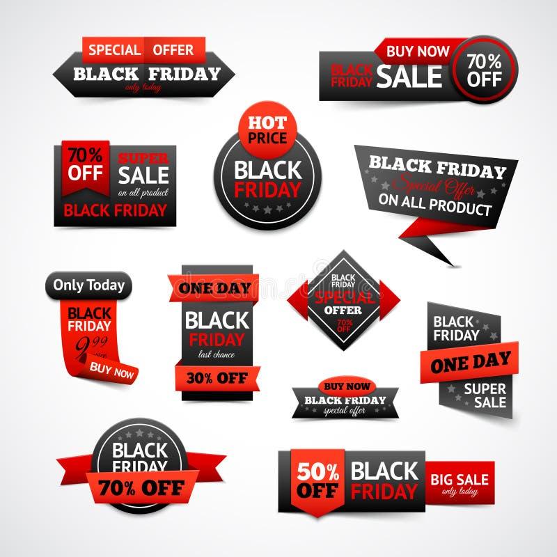 Descuentos de Black Friday fijados ilustración del vector