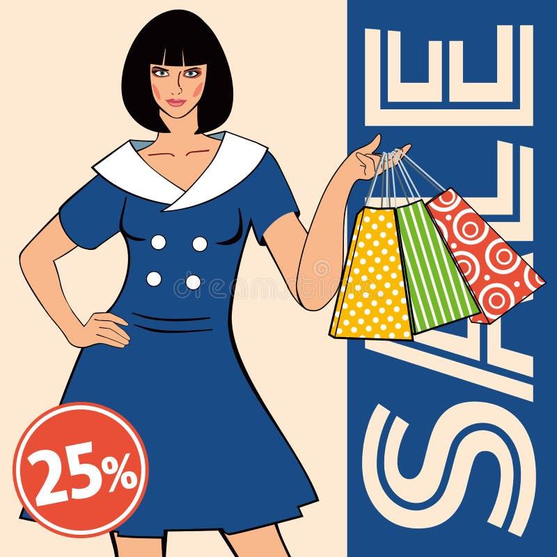Descuentos de la disposición de la venta La muchacha en el vestido retro azul sostiene bolsos de compras stock de ilustración