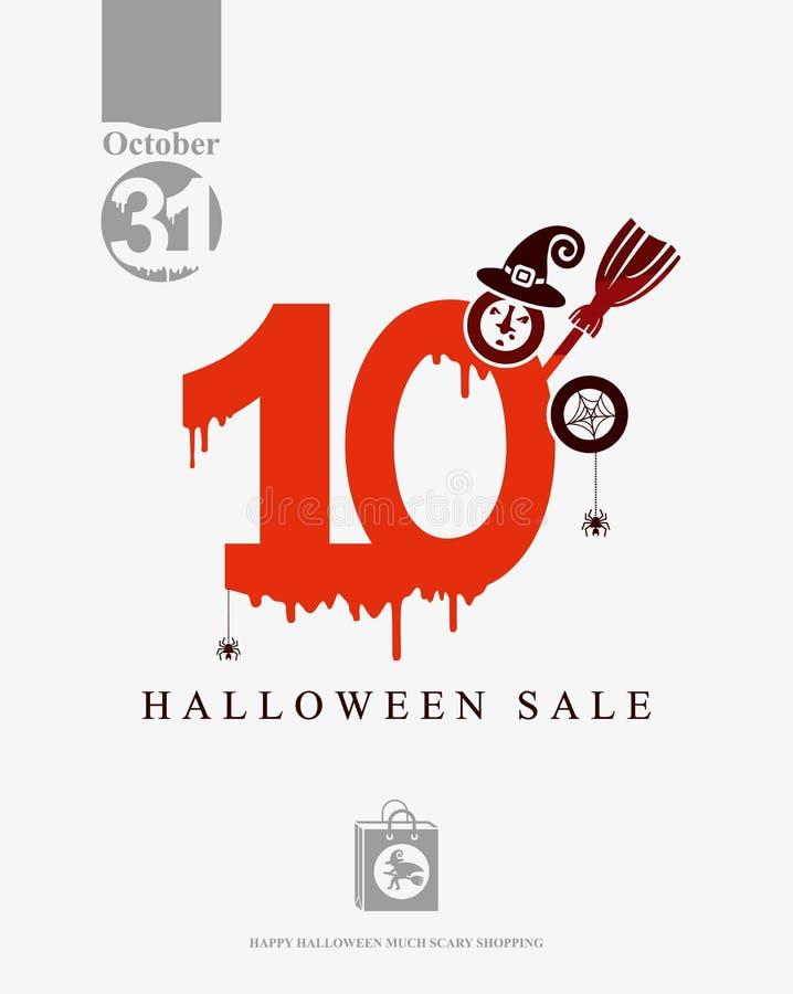 Descuentos de la venta 10 de Halloween La sangre roja dibujada figura el 10% stock de ilustración