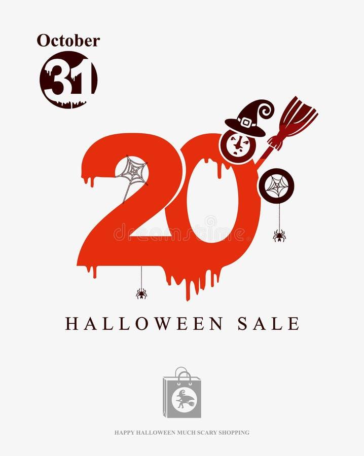 Descuentos de la venta 20 de Halloween La sangre roja dibujada figura el 20% ilustración del vector