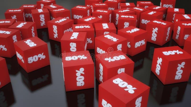 Descuentos del cubo en el piso ilustración del vector