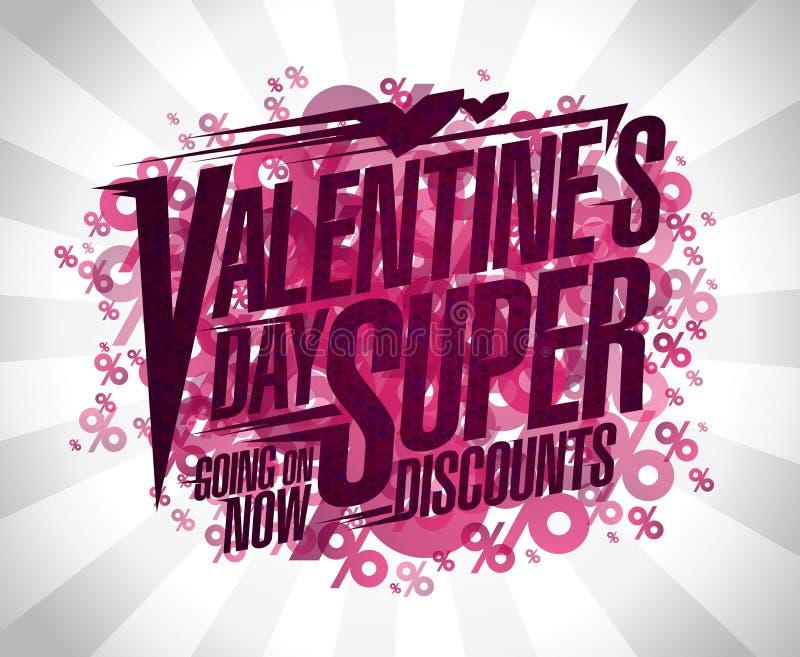 Descuentos estupendos del día del ` s de la tarjeta del día de San Valentín ilustración del vector