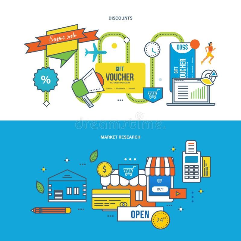 Descuentos, ofertas especiales, finanzas, márketing, investigación, análisis, estrategia, planificación de empresas libre illustration