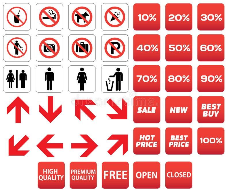 Descuentos prohibidos pictograma de la venta ilustración del vector