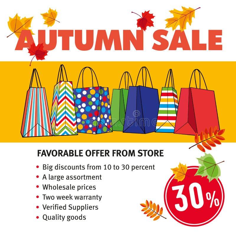 Descuentos promocionales del otoño de la disposición Venta el 30% libre illustration