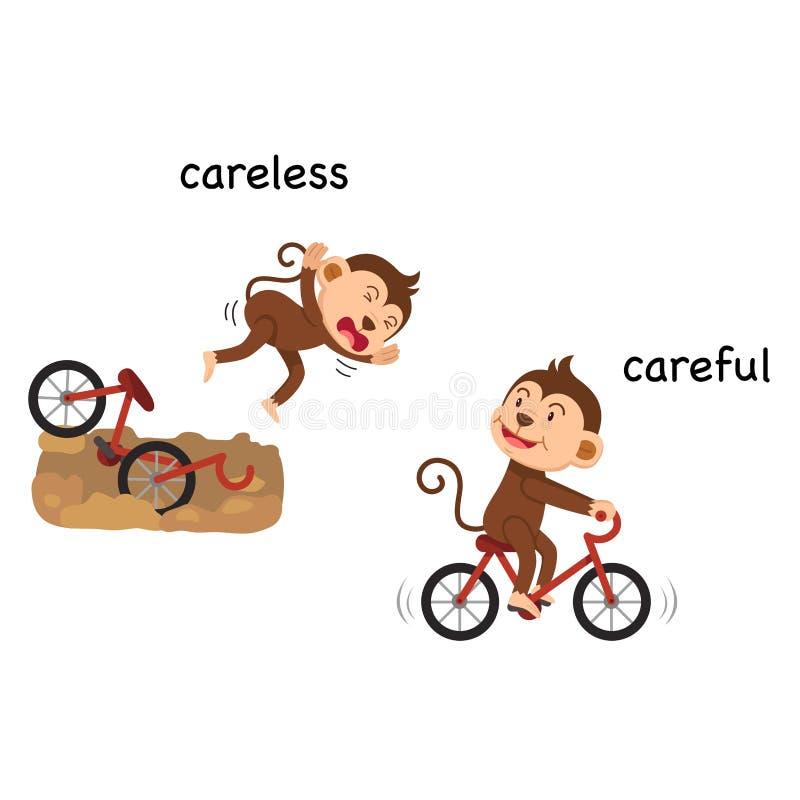 Descuidado y cuidadoso opuestos stock de ilustración