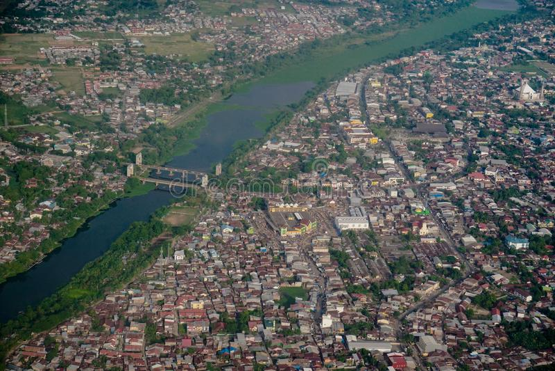 Desde arriba de la ciudad de Makassar fotografía de archivo