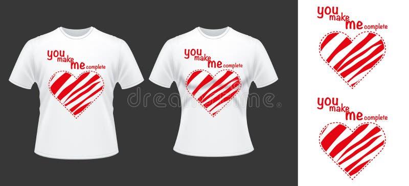 Desdign de T-shirt de couples avec des coeurs illustration de vecteur