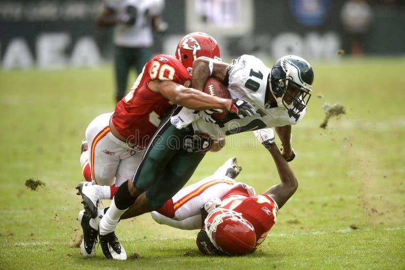 DeSean Jackson. Kansas City Chiefs Mike Brown brings down Eagles DeSean Jackson after a 43 yard gain 2009 game at Philadelphia stock photo