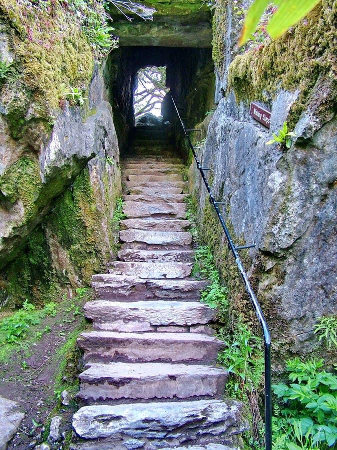 Desejando as etapas Blarney fortificam um castelo medieval perto da cortiça, Irlanda imagens de stock
