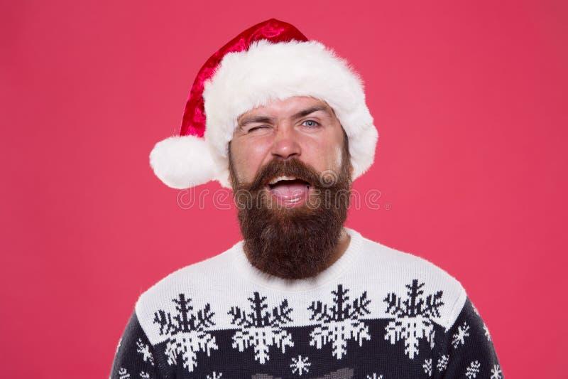 Desejando boa sorte Saudações sinceras Face piscante bigode de homem barbudo Natal e Ano Novo Barbershop Barber imagem de stock
