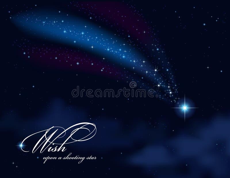 Desejo em cima de uma estrela de tiro ilustração royalty free
