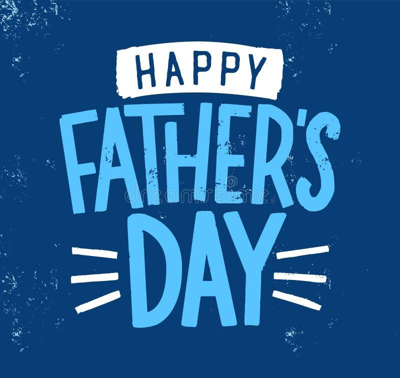 Desejo, inscrição ou rotulação feliz do feriado do dia do ` s do pai escritos com fonte caligráfica à moda no fundo azul e ilustração stock