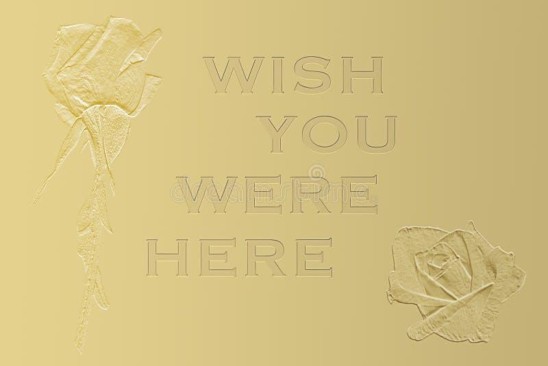 Desejo você estava aqui fundo do cartão imagem de stock royalty free