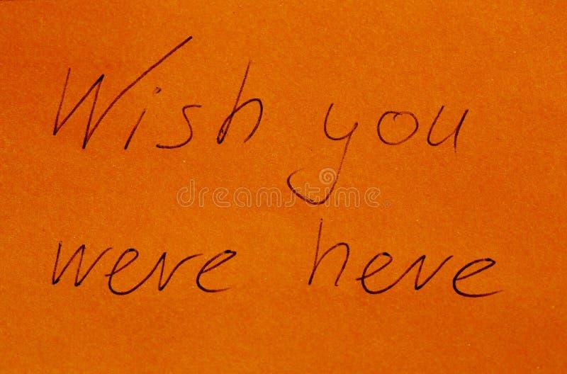 Desejo você estava aqui no papel fotografia de stock royalty free