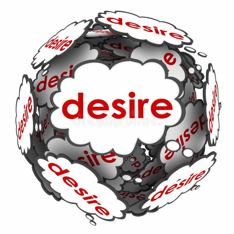 Desejos apaixonado de Desire Thought Clouds Wants Needs ilustração do vetor
