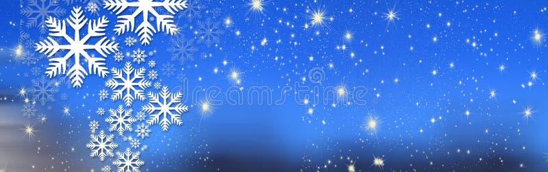 Desejos do Natal, curva com estrelas e neve, fundo