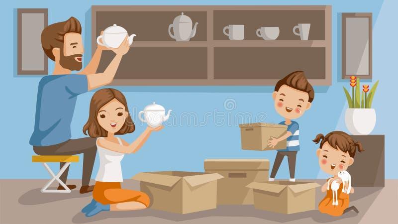 Desembalando caixas ilustração stock