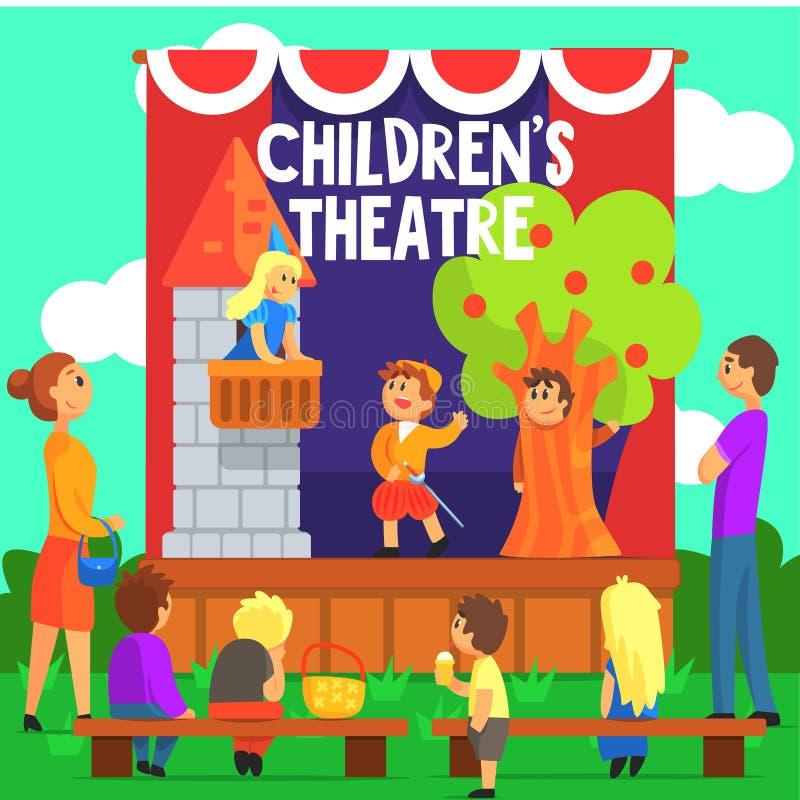 Desempenho de teatro amador das crianças de um conto de fadas ilustração do vetor
