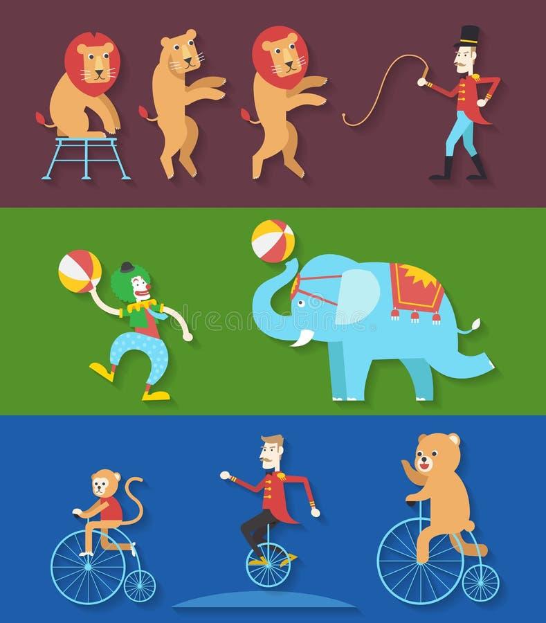 Desempenho do circo com o ator do palhaço dos animais, ilustração do vetor ilustração do vetor