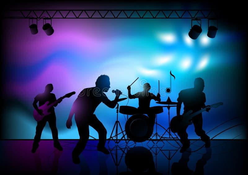 Desempenho do grupo de rock ilustração stock