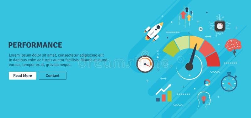 Desempenho e eficiência, crescimento no negócio com ícones ilustração stock