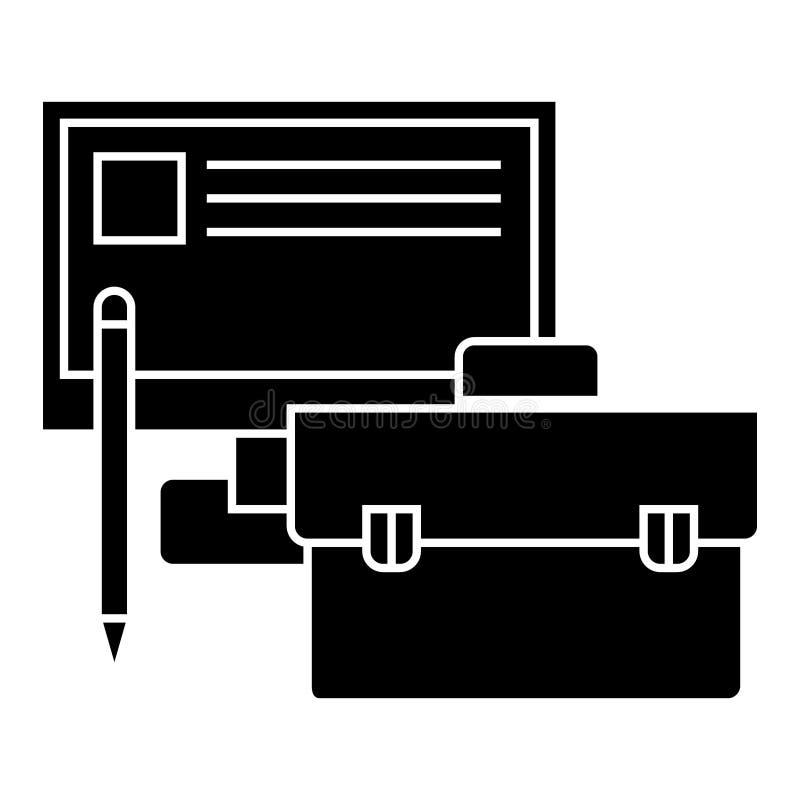 Desempenho empresarial - monitor, caso, ícone do lápis, ilustração do vetor, sinal preto no fundo isolado ilustração stock