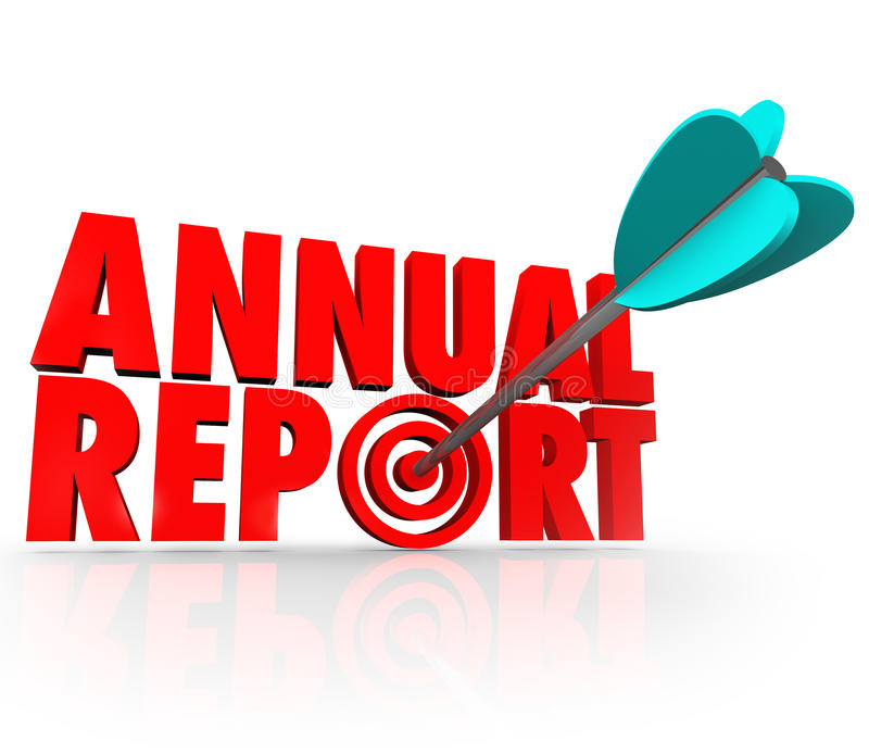 Desempenho financeiro da seta do informe anual ilustração do vetor