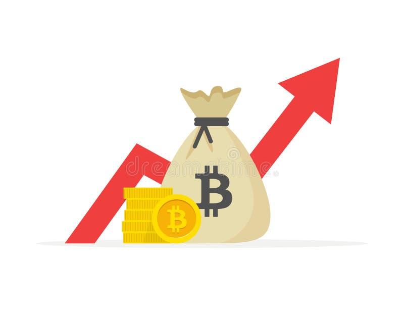 Desempenho financeiro, produtividade do negócio do bitcoin, relatório da estatística, fundo de investimento aberto, retorno sobre ilustração do vetor
