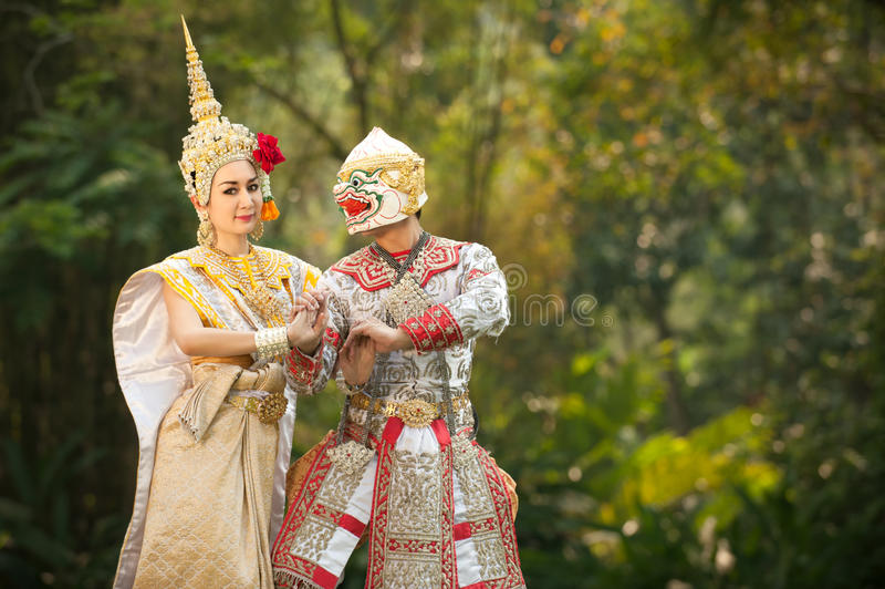 Desempenhos da pantomima em Tailândia fotos de stock royalty free